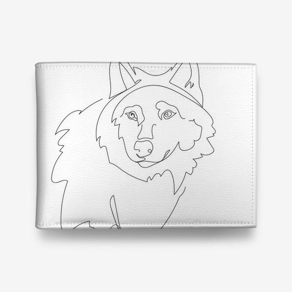 Кошелек «Волк. Графика. Линейный рисунок»
