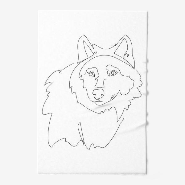 Полотенце «Волк. Графика. Линейный рисунок»