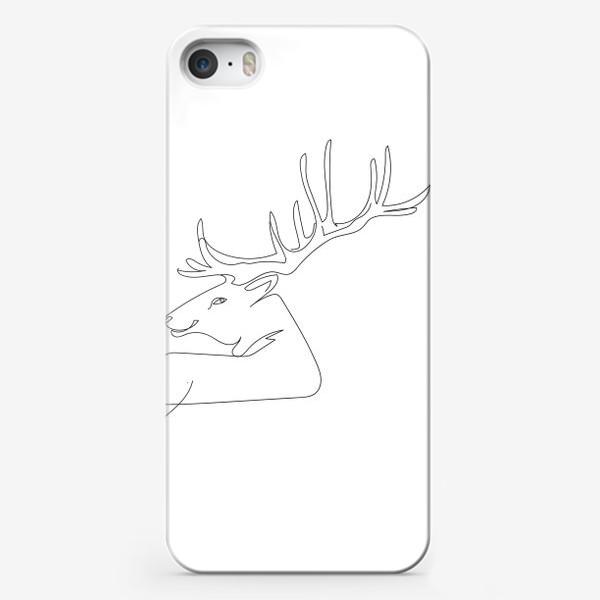Чехол iPhone «Олень. Графика. Линейный рисунок»