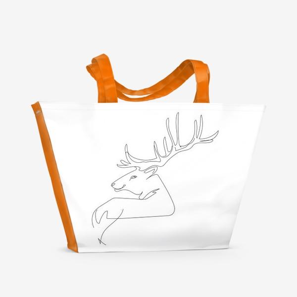 Пляжная сумка «Олень. Графика. Линейный рисунок»