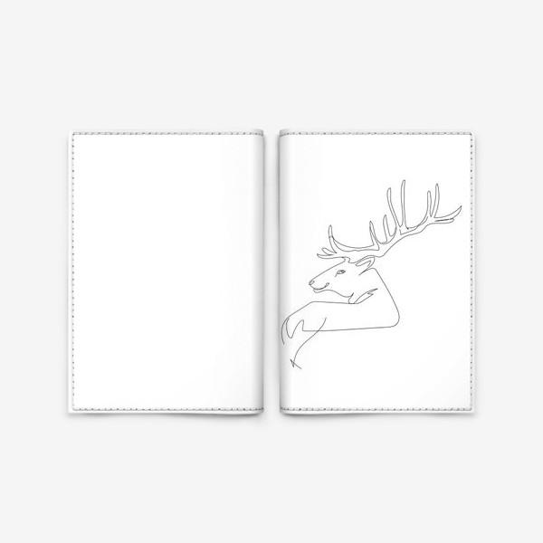 Обложка для паспорта «Олень. Графика. Линейный рисунок»