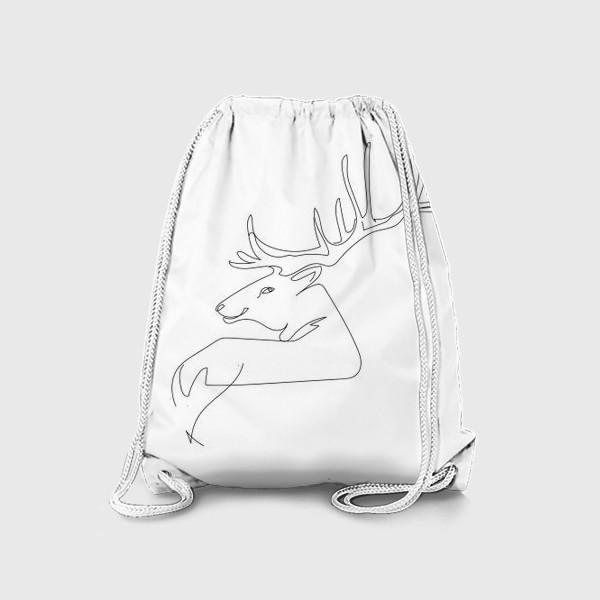 Рюкзак «Олень. Графика. Линейный рисунок»
