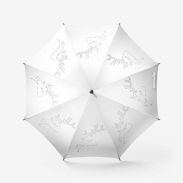 Зонт «Олень. Графика. Линейный рисунок»