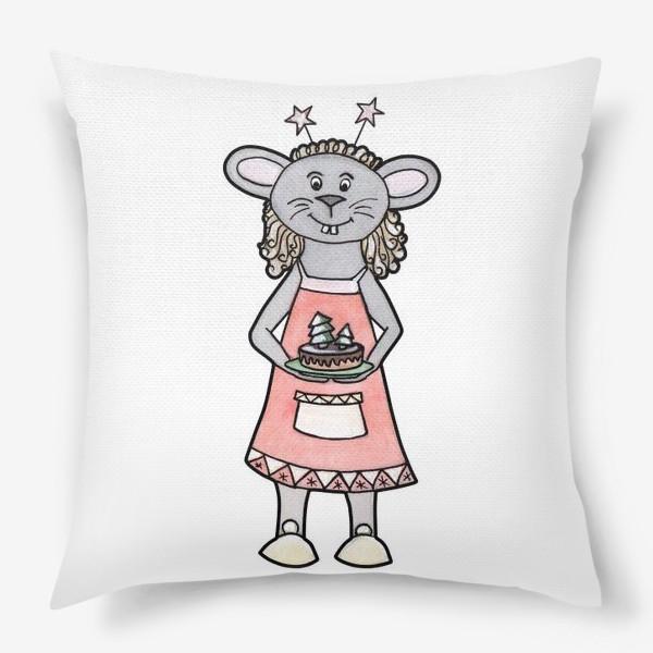 Подушка «Мышка с тортиком»