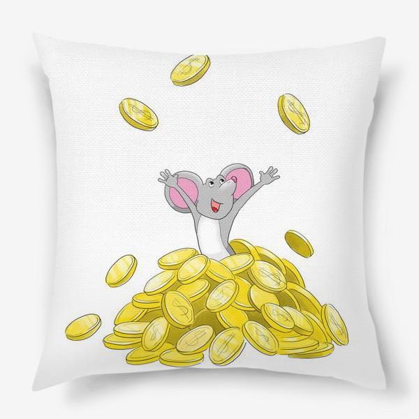 Подушка «Мышка купается в монетах»