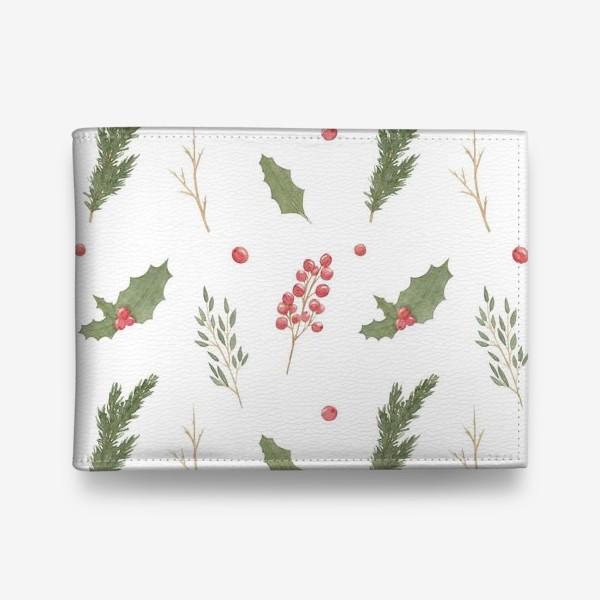 Кошелек «Зимние растения, новогодний и рождественский акварельный паттерн на белом фоне.»