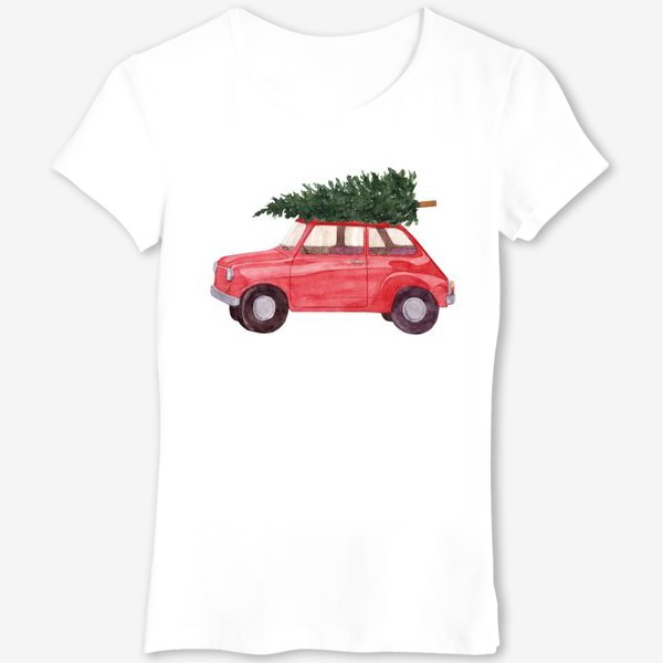 Футболка «Красная машина с новогодней елкой на крыше. Рождественский акварельный принт на белом фоне»