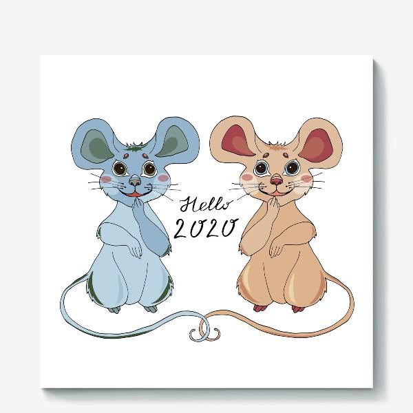 Холст «Мышки ждут новый год»