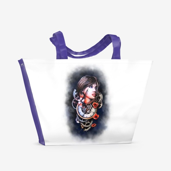 Пляжная сумка «Девушка и часы!»