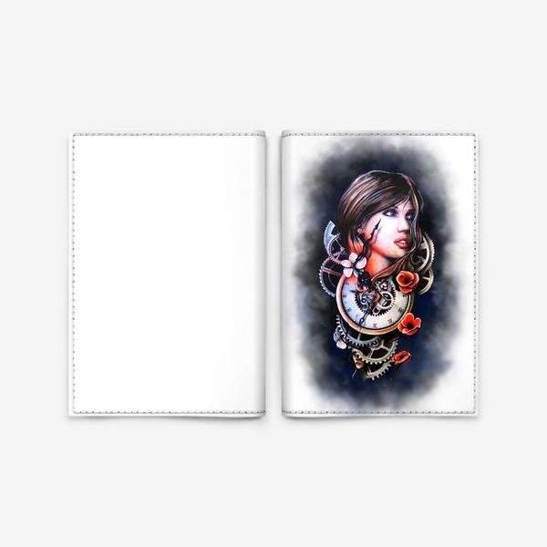 Обложка для паспорта «Девушка и часы!»