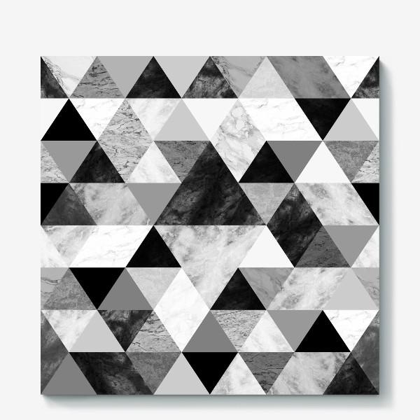 Холст «Абстрактный паттерн, треугольники и ромбы, текстура мрамора»