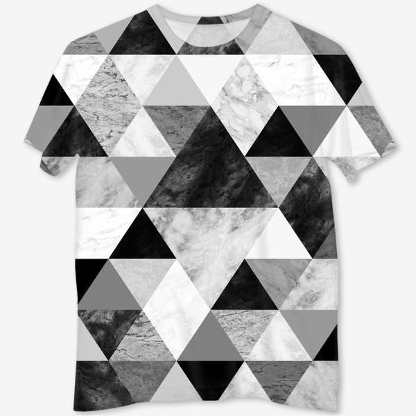 Футболка с полной запечаткой «Абстрактный паттерн, треугольники и ромбы, текстура мрамора»
