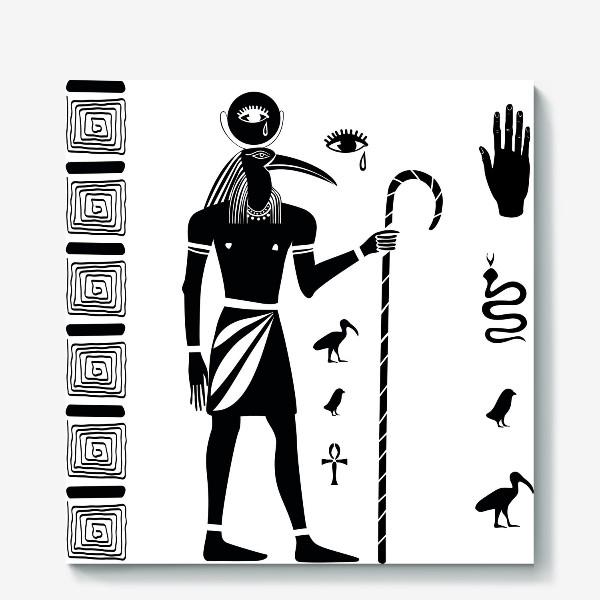 Холст «Древнеегипетский бог Тот с головой ибиса и древнеегипетские символы»