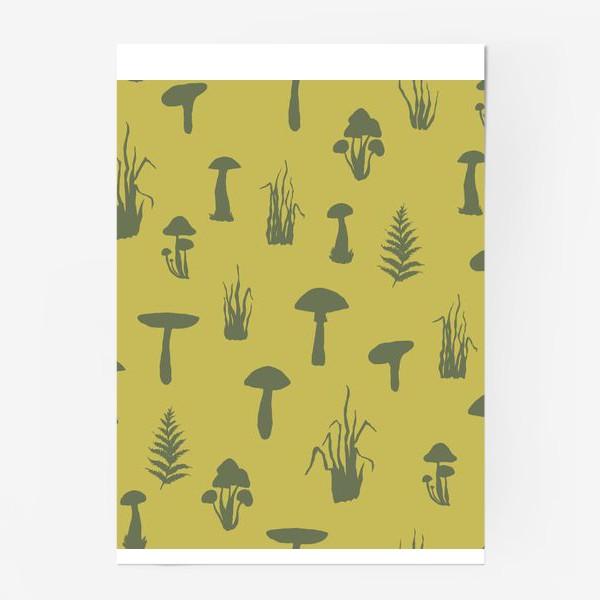 Постер «Паттерн с силуэтами грибов и трав.»