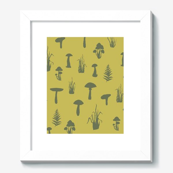 Картина «Паттерн с силуэтами грибов и трав.»