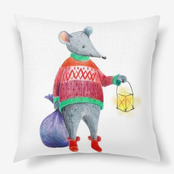 Подушка «Мышонок с фонарем и мешком подарков»