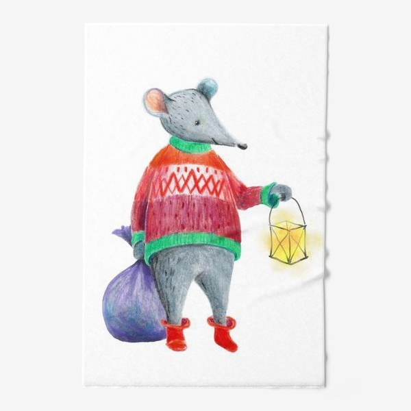 Полотенце «Мышонок с фонарем и мешком подарков»