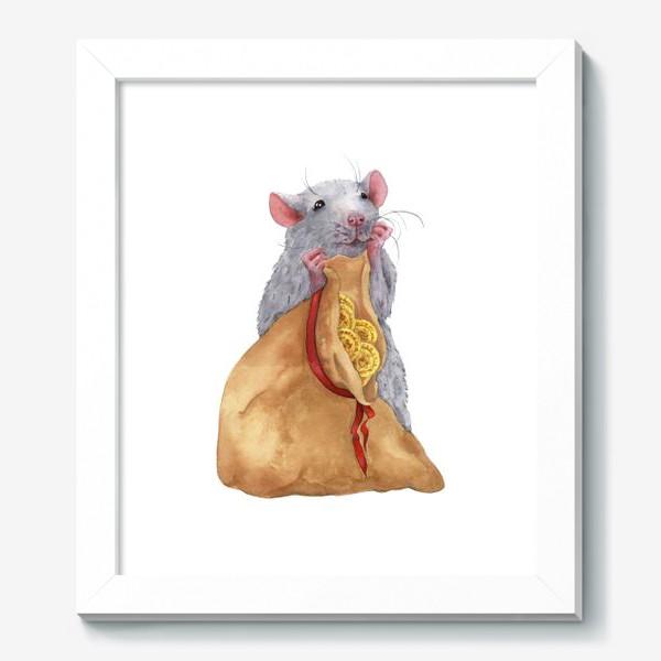 Картина «Крыса с мешком монет .Символ 2020 года»