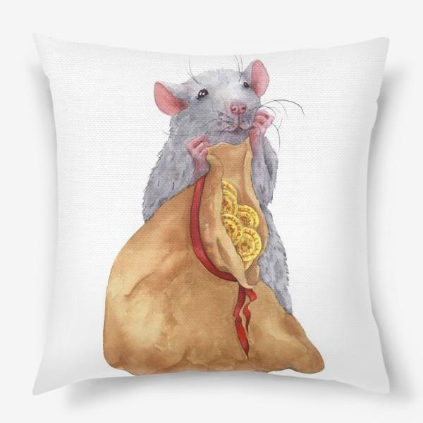 Подушка «Крыса с мешком монет .Символ 2020 года»
