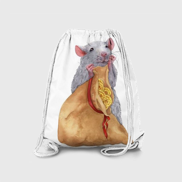Рюкзак «Крыса с мешком монет .Символ 2020 года»