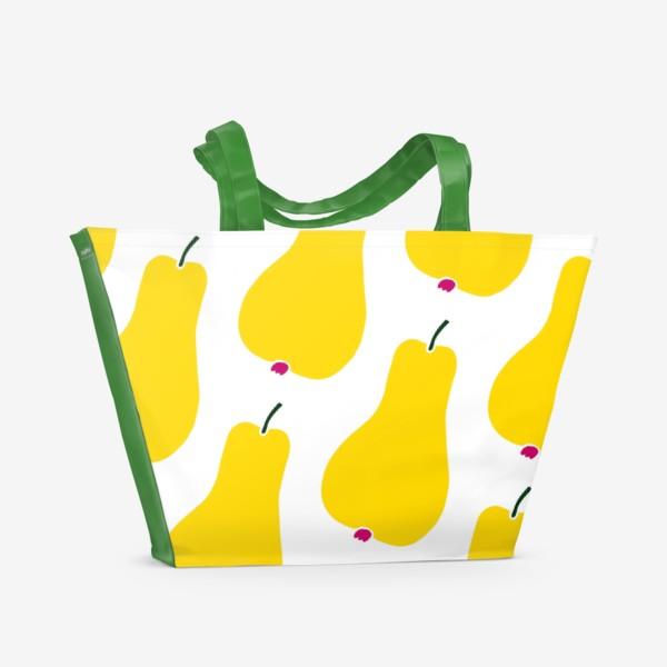 Пляжная сумка «Желтые сочные груши на белом фоне. Паттерн»