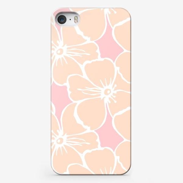 Чехол iPhone «Цветочный фон розовый»