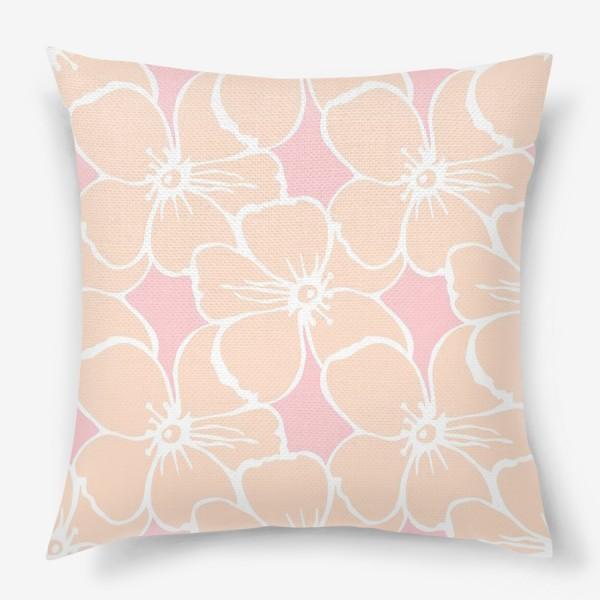 Подушка «Цветочный фон розовый»