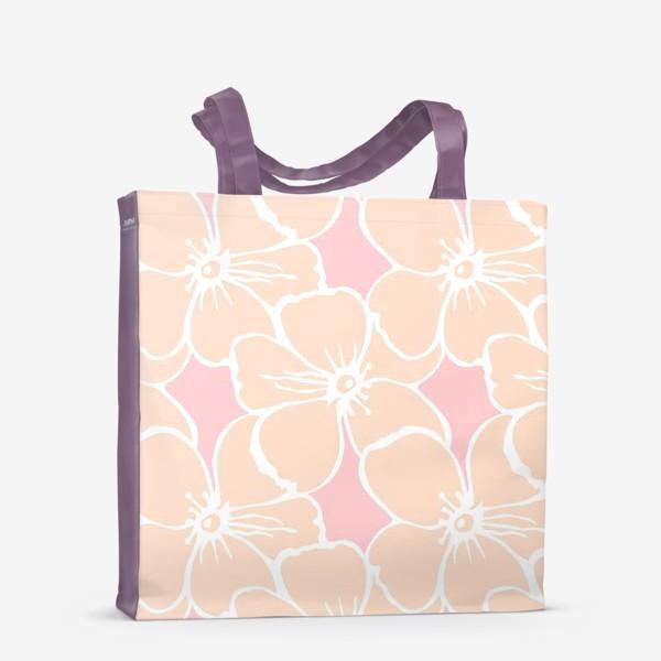 Сумка-шоппер «Цветочный фон розовый»
