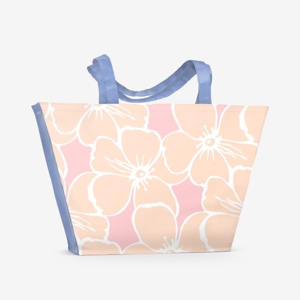 Пляжная сумка «Цветочный фон розовый»