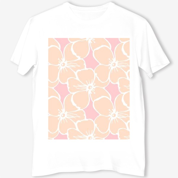 Футболка «Цветочный фон розовый»