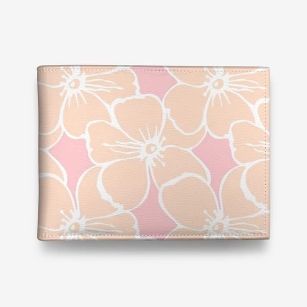 Кошелек «Цветочный фон розовый»