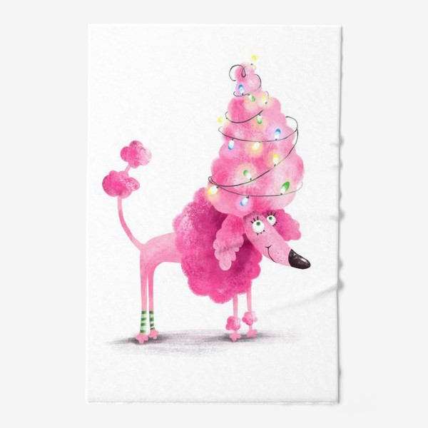 Полотенце «Новогодний розовый пудель»