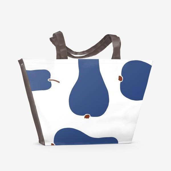 Пляжная сумка «Синие сочные груши на белом фоне. Паттерн»
