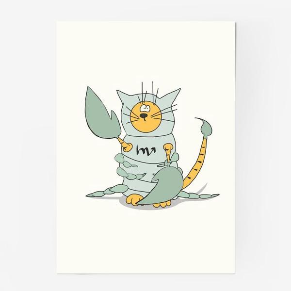 Постер «Кот Скорпион. Подарок Скорпиону. Знак Зодиака»