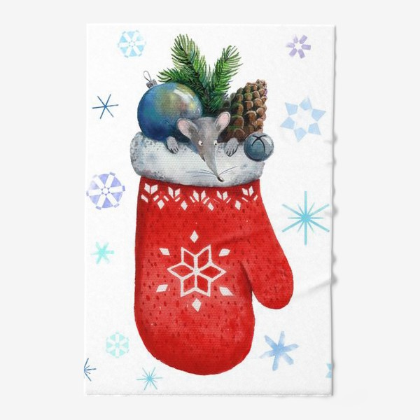 Полотенце «Новогодний мышонок, выглядывающий из варежки с еловой веткой, шишкой, игрушкой и бубенчиком.»