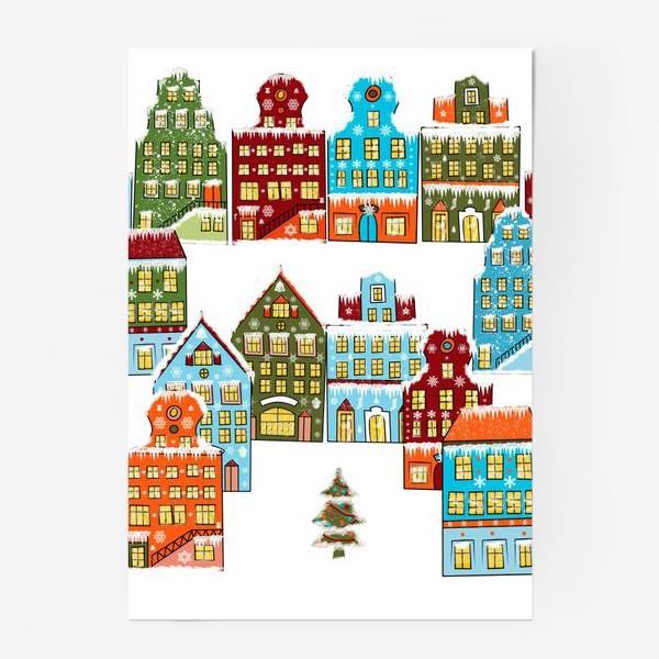 Постер «Цветные снежные домики»