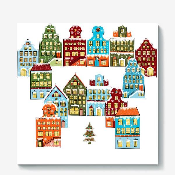Холст «Цветные снежные домики»