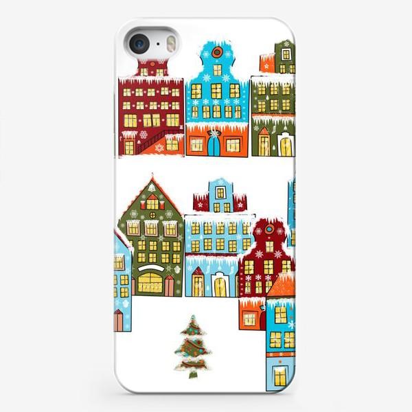 Чехол iPhone «Цветные снежные домики»