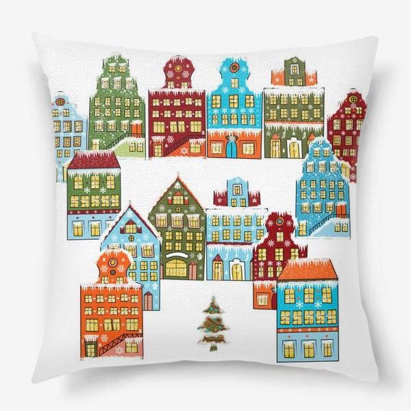 Подушка «Цветные снежные домики»