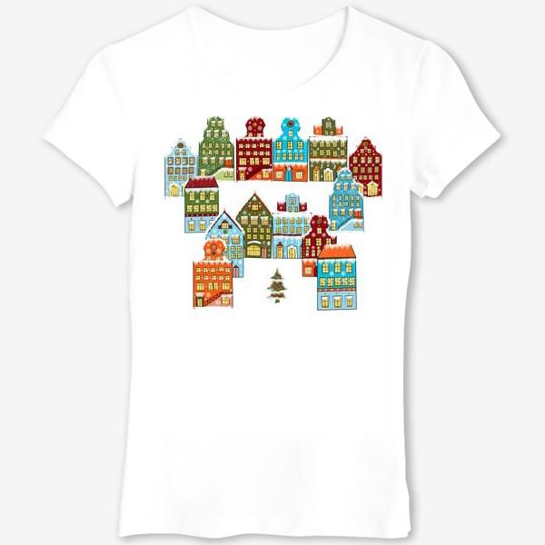 Футболка «Цветные снежные домики»