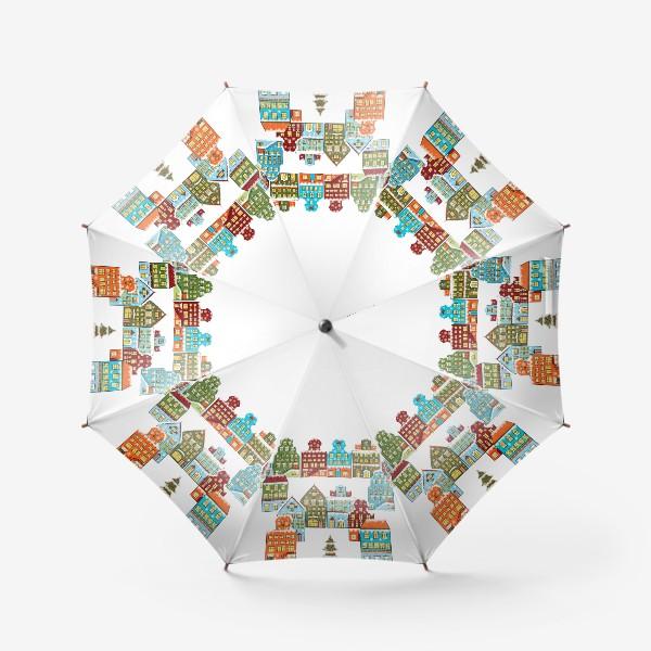 Зонт «Цветные снежные домики»