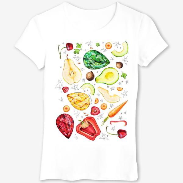 Футболка «Фрукты, овощи и камни веган»