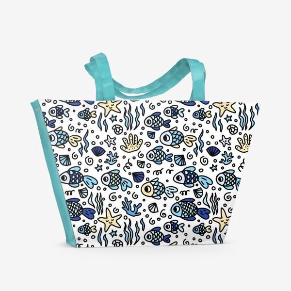 Пляжная сумка «рыбки бесшовный паттерн»