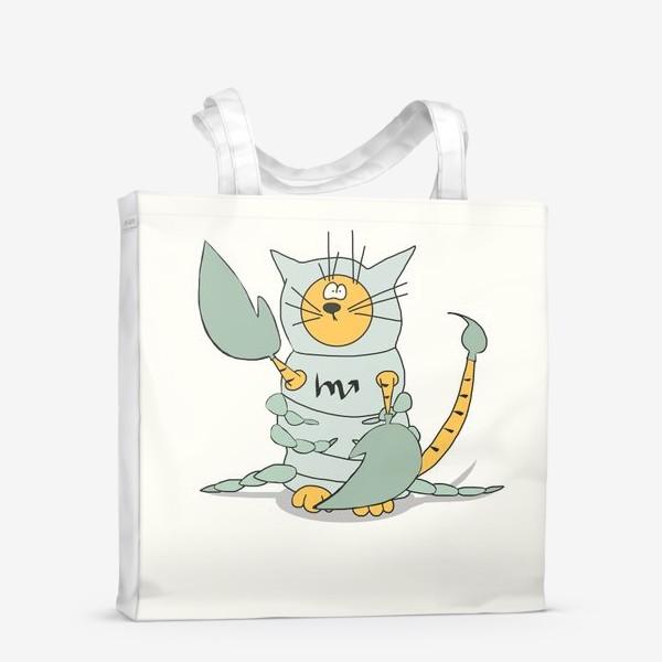 Сумка-шоппер «Кот Скорпион. Подарок Скорпиону. Знак Зодиака»