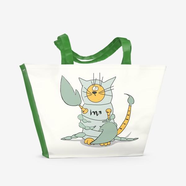 Пляжная сумка «Кот Скорпион. Подарок Скорпиону. Знак Зодиака»