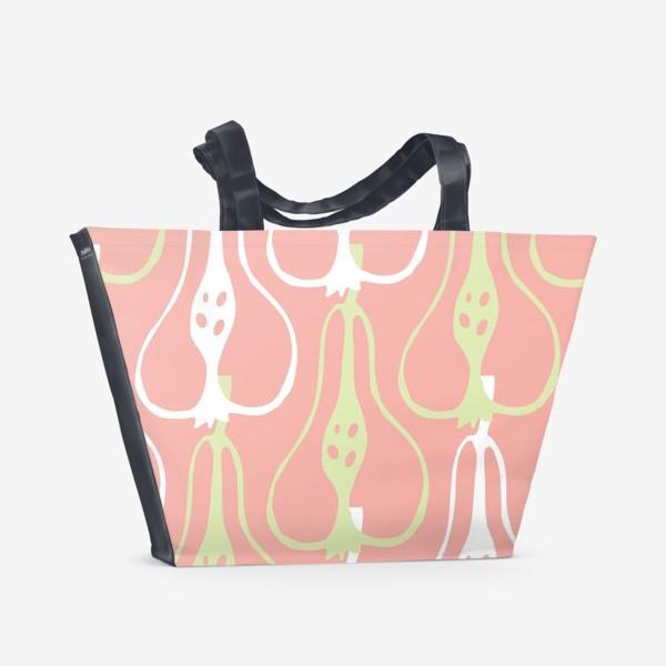Пляжная сумка «Силуэтные груши на розовом фоне. Паттерн»