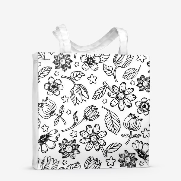 Сумка-шоппер «Легкий цветочный узор»