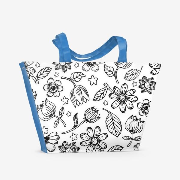 Пляжная сумка «Легкий цветочный узор»