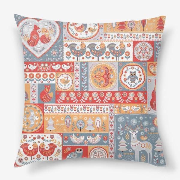 Подушка «Декоративные мотивы в фольклорном стиле.»