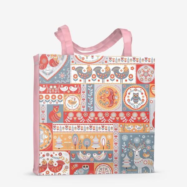 Сумка-шоппер «Декоративные мотивы в фольклорном стиле.»